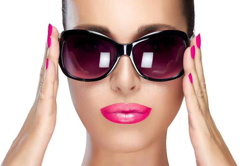 Beautiful Model In Black Fashion Sunglasses. Bright Makeup ...