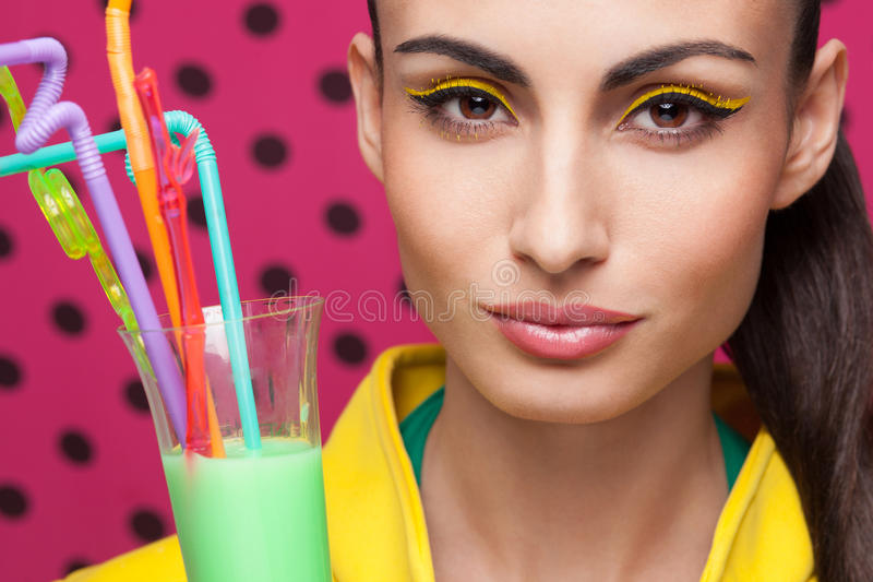 Beautiful model with cocktail royalty free stock images