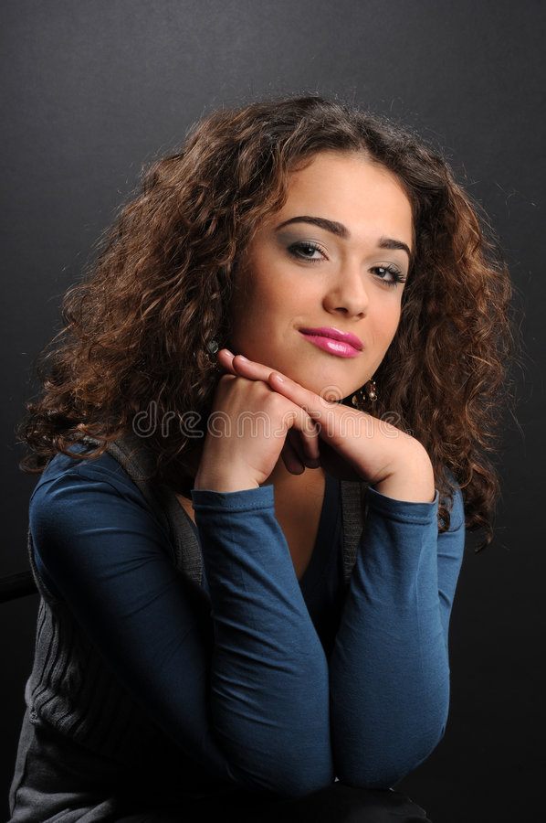 Download Beautiful Model With Curly Hair Stock Image - Image: 8624333