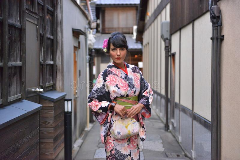Beautiful model dressed in a kimono in kyoto stock photography