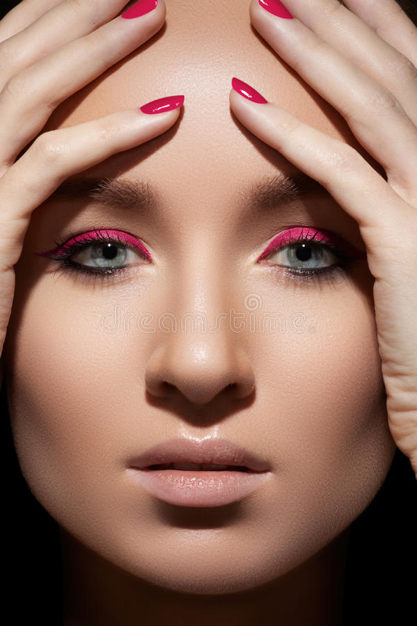 Download Beautiful Model Face With Fashion Make-up & Nails Stock Image - Image of brows, complexion: 22854769