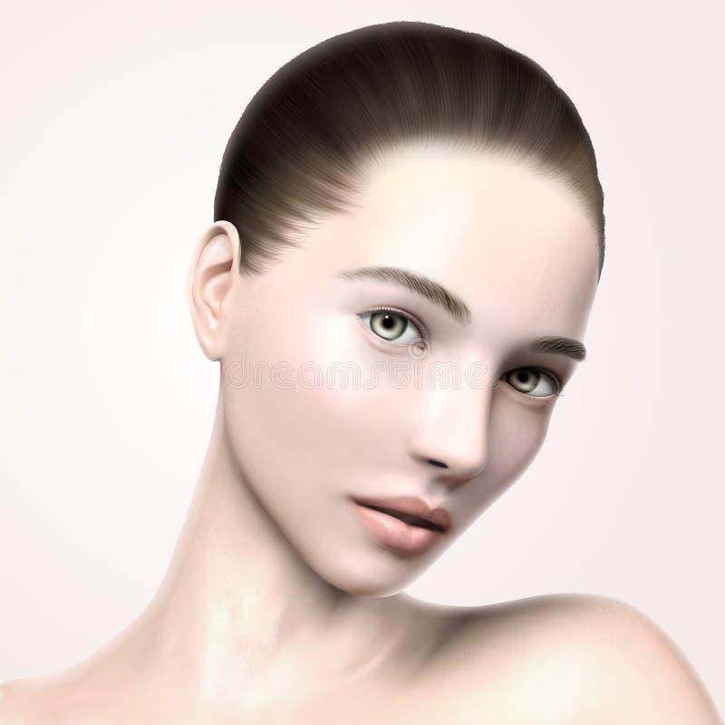 Beautiful model face portrait. 3d illustration model for skin care or medical ads uses