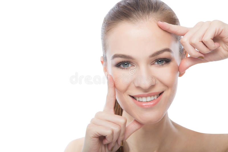 Beautiful model framing her face stock images