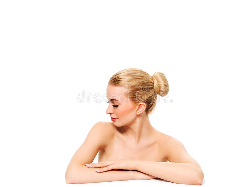 Beautiful model girl with perfect fresh clean skin. Youth and skin care concept. royalty free stock image