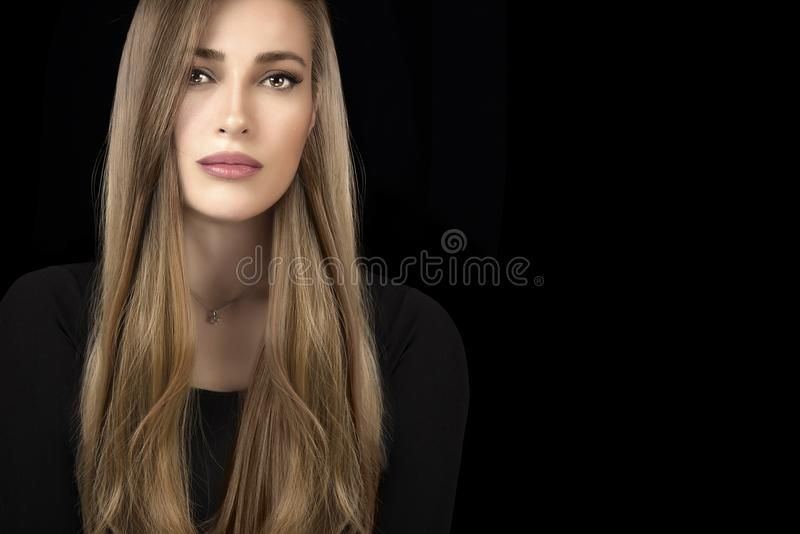 Beautiful model girl with healthy long hair. Hair coloring technique stock photo
