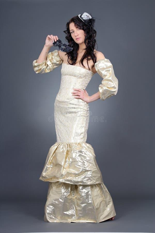 Download Beautiful Model In Golden Dress Stock Image - Image of luxury, dress: 28390561