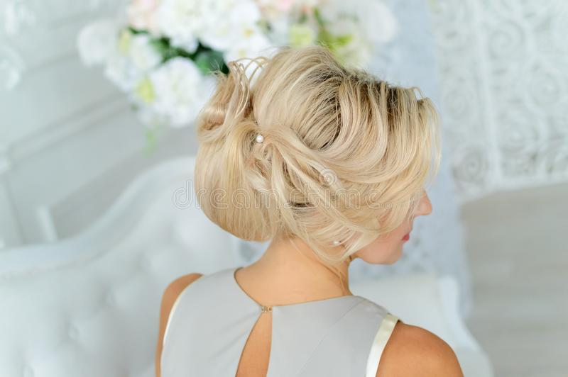 A beautiful model hairstyle, blonde hair royalty free stock photos