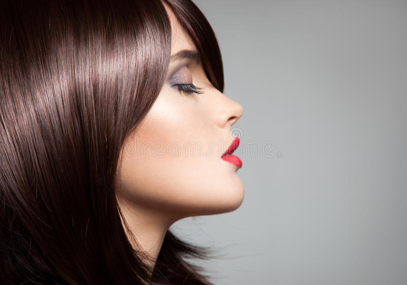 Beautiful model with perfect long glossy brown hair. Close-up portrait stock photography