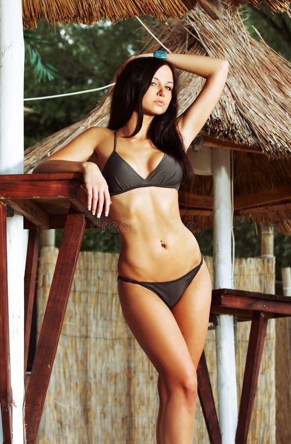 Beautiful model wearing bikini stock images