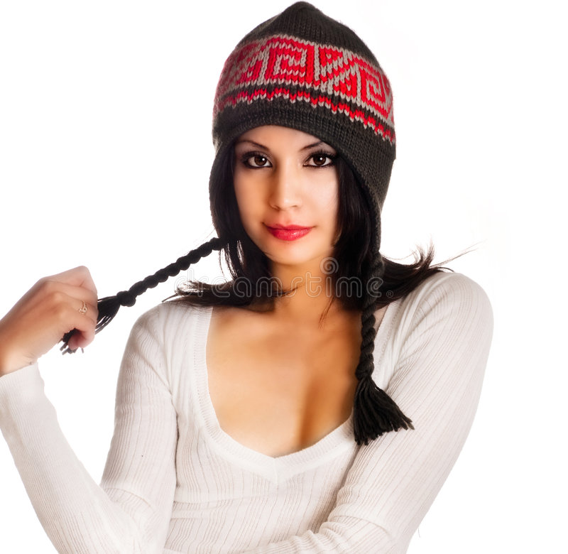 Free Beautiful Model Wearing Winter Wooly Hat Royalty Free Stock Images - 7449799