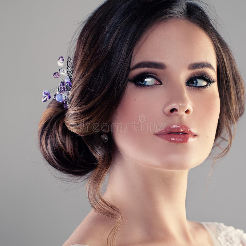 Beautiful Model Woman Fiancee with Bridal Hairstyle royalty free stock photos