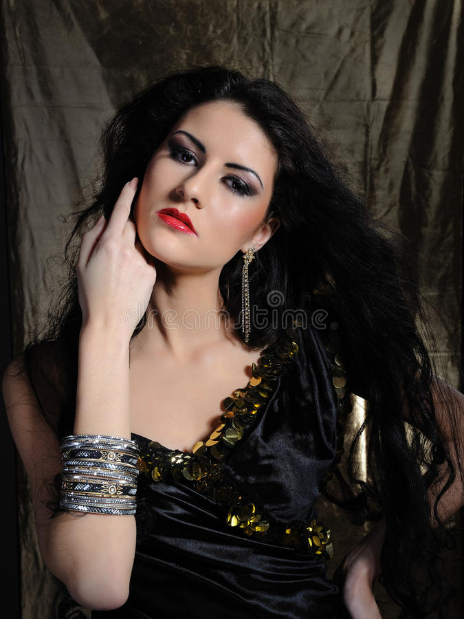Download Beautiful Model Woman With Long Black Healthy Hair Stock Image - Image: 18872899