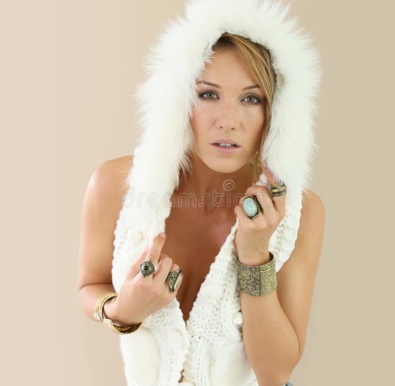 Beautiful model woman in woolen jacket royalty free stock images