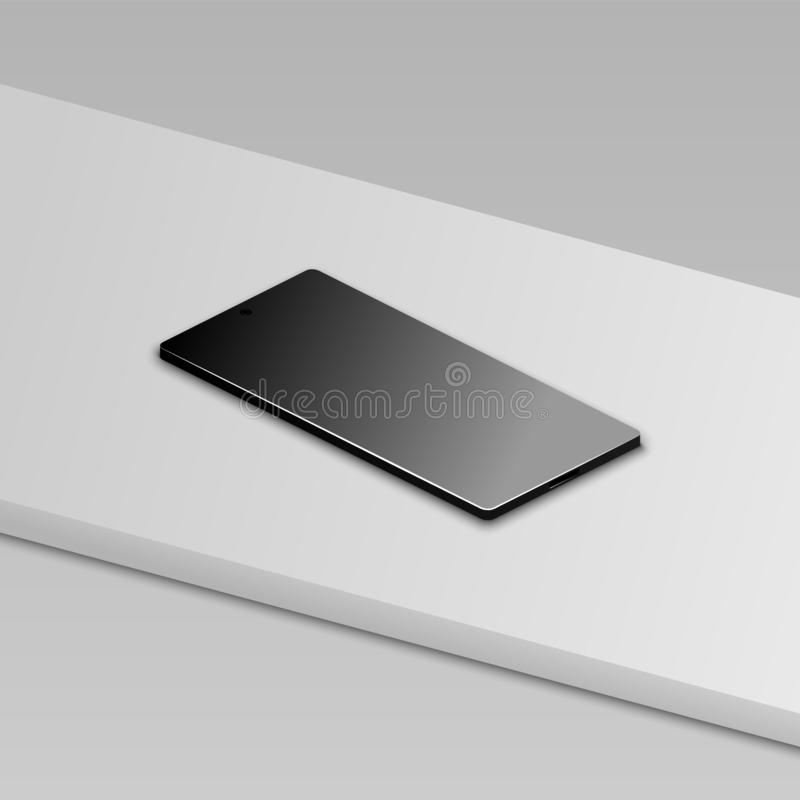 Beautiful modern abstract black smart phone on white table. Perspective view. Realistic vector royalty free illustration