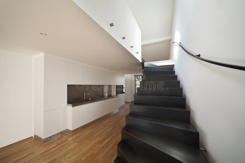 Beautiful modern apartment, loft duplex royalty free stock images