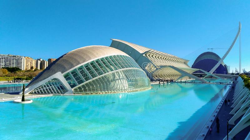 Beautiful modern architecture of the building in the complex City of Arts and Sciences in Valencia, Spain.  stock images