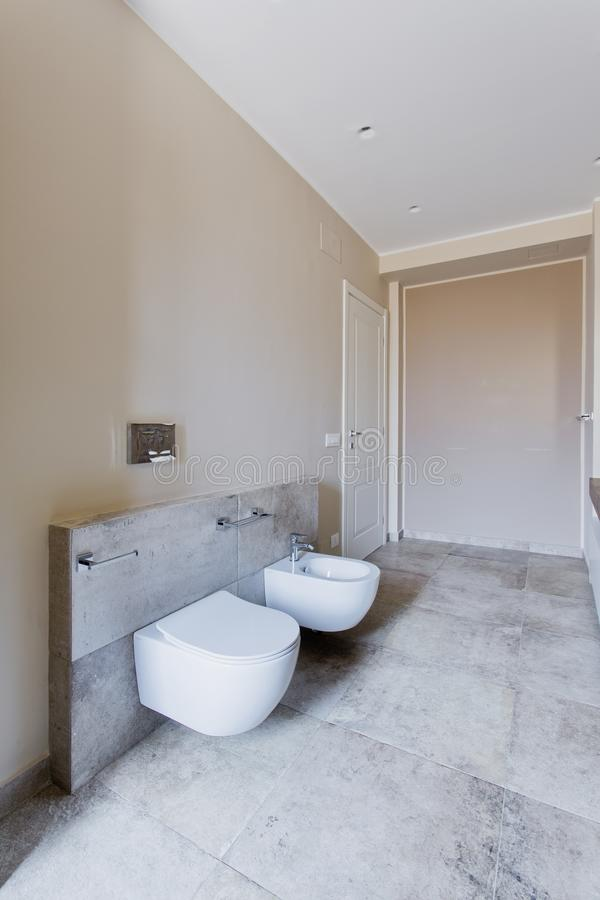 Beautiful and modern bathroom. Modern bathroom with double sink. Bathroom sanitary ware suspended stock images