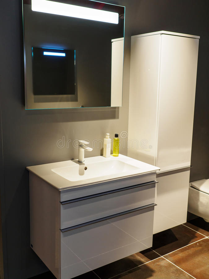 Beautiful Modern Bathroom in Luxury New Home. Beautiful Small Modern Trendy Design Bathroom in Luxury Home royalty free stock photo