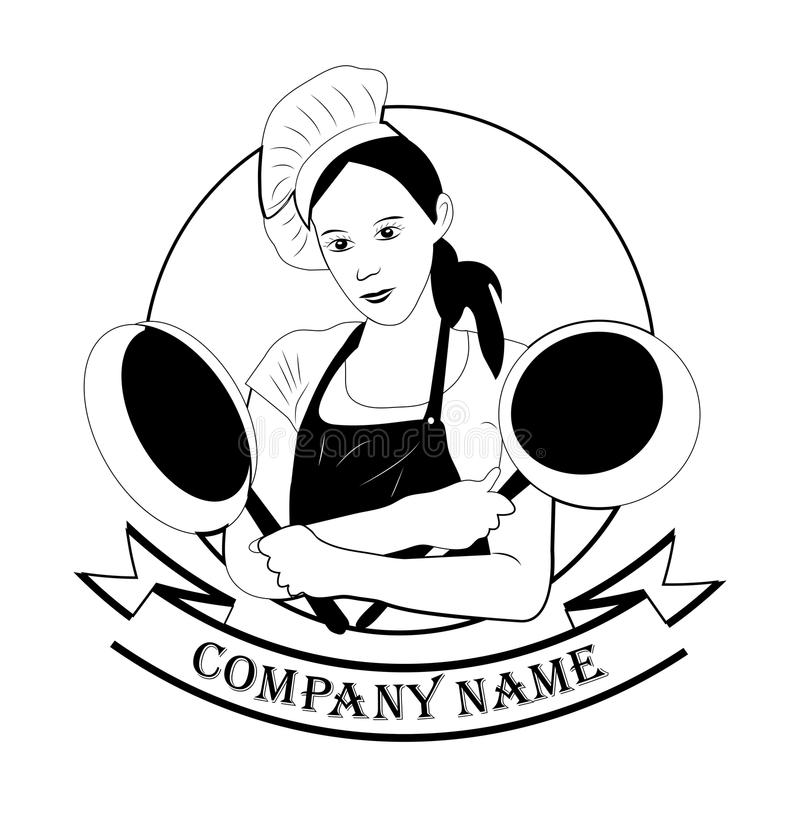 Beautiful, modern chef girl with a frying pan in her hands on a. Modern, pretty girl with a frying pan on white background. food, kitchen, logo for restaurants stock illustration