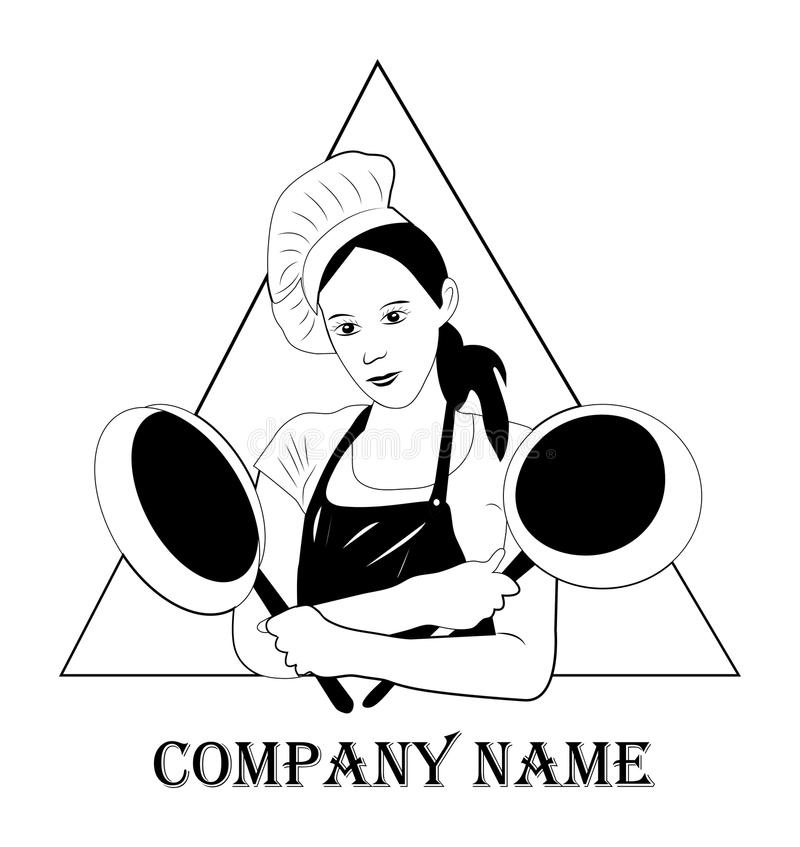 Beautiful, modern chef girl with a frying pan in her hands on a. Modern, pretty girl with a frying pan on white background. food, kitchen, logo for restaurants royalty free illustration
