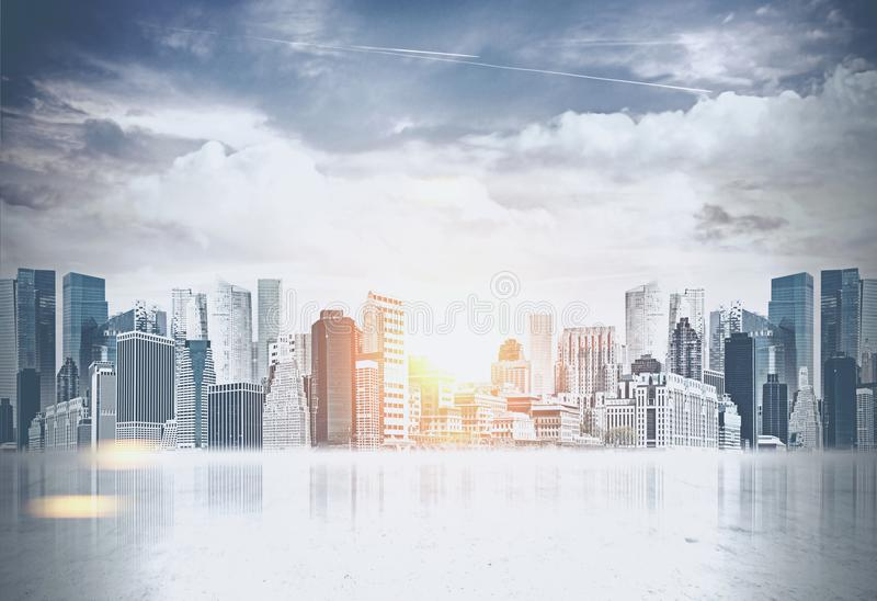 Beautiful modern city panorama, business concept royalty free illustration