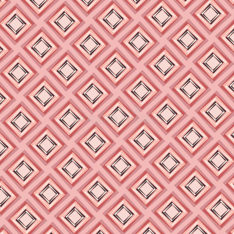 Beautiful modern diamonds seamless pattern in peach and pink colors stock illustration
