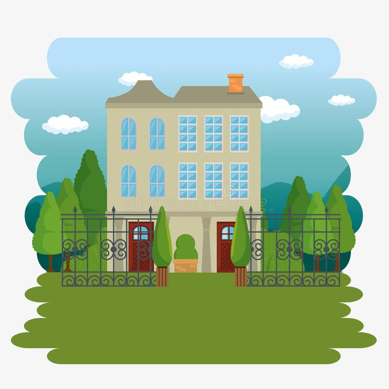 Beautiful and modern family house. Vector illustration graphic design royalty free illustration