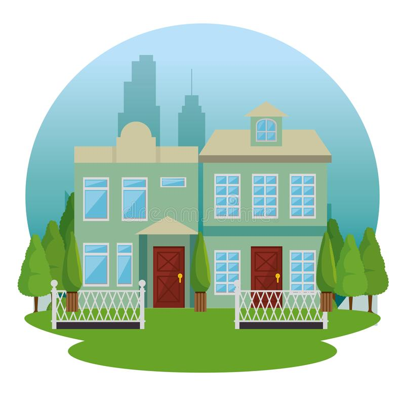 Beautiful and modern family house. Vector illustration graphic design stock illustration