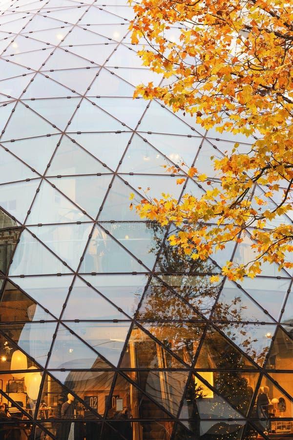 Beautiful modern glass building.De Blob Shopping Center in Eindhoven, Netherlands. Golden autumn in Eindhoven. Beautiful modern glass building. De Blob Shopping royalty free stock photo