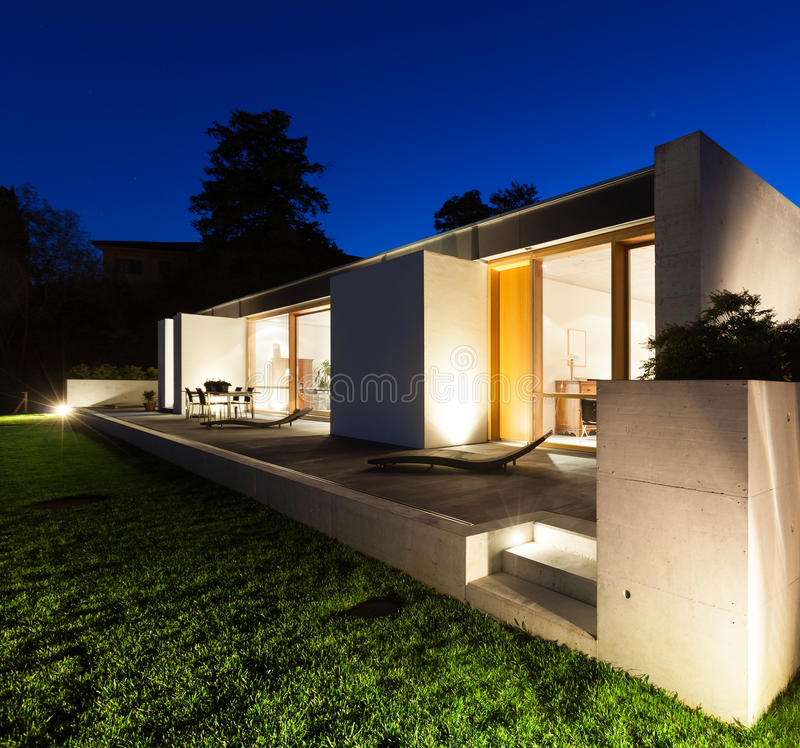 Exterior House Designs Exterior Modern With Concrete Patio: Beautiful Modern House In Cement Royalty Free Stock Photos