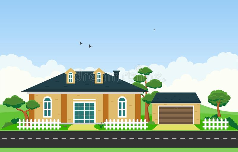 Beautiful Modern House Exterior Facade Yard Residential Illustration.  stock illustration