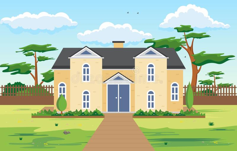 Beautiful Modern House Exterior Facade Yard Residential Illustration vector illustration