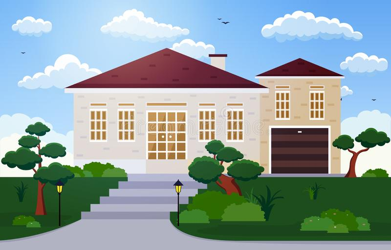 Beautiful Modern House Exterior Facade Yard Residential Illustration stock illustration