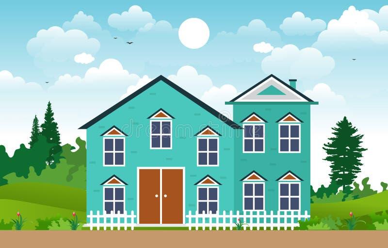 Beautiful Modern House Exterior Facade Yard Residential Illustration royalty free illustration