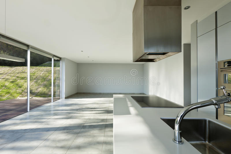 Beautiful modern house, kitchen stock photo