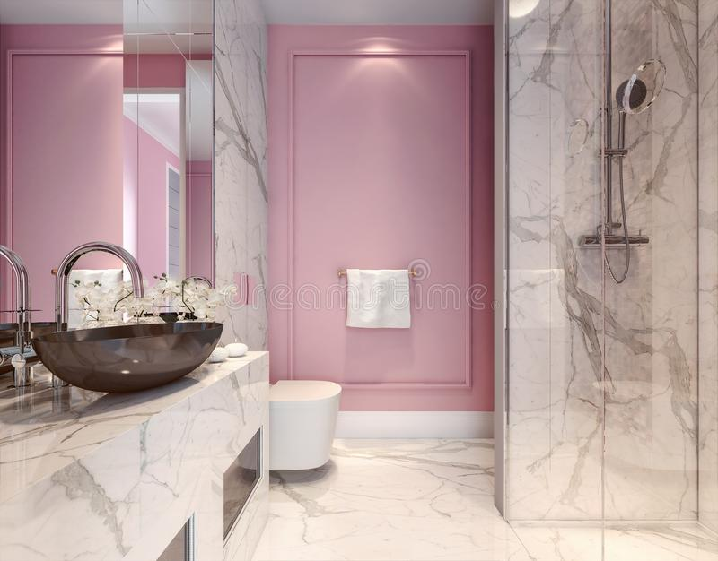 Beautiful modern interior design of millennial pink bathroom stock illustration