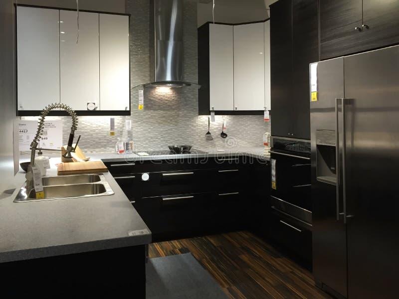 Beautiful modern kitchen background royalty free stock photo