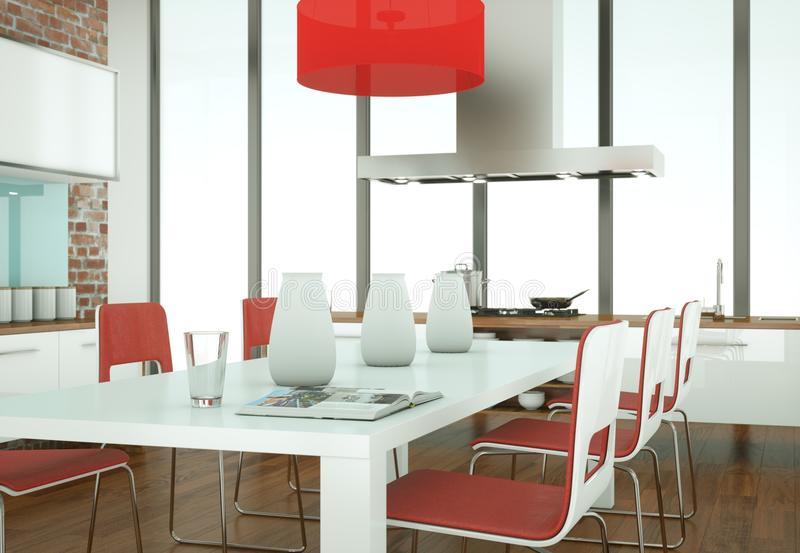 Beautiful modern kitchen with a dinging table and chairs stock photography