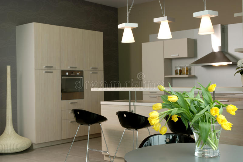 Beautiful and modern kitchen interior design. royalty free stock image