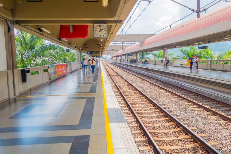 Beautiful and modern metro system in Medellin city. MEDELLIN, COLOMBIA - FEBRUARY 24, 2015: Modern and efficient metro in Medellin stock photo