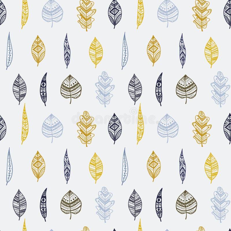 Beautiful modern modeornamental leaves seamless pattern, colorful, hand drawn seasonal background, great for fall autumn fashion vector illustration