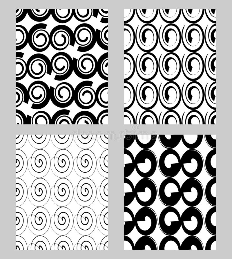 Beautiful modern monochrome textile patterns sampler, fabric design in black and white, set of seamless ornaments in vector illustration