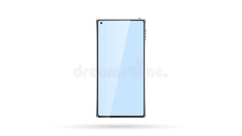 Beautiful modern new smart frameless mobile phone, touchscreen smartphone and selfie camera on the screen. Vector illustration vector illustration