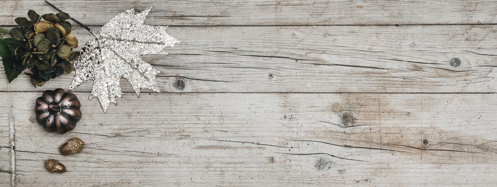 Autumnal gray wood background with decoration. Beautiful modern and nice autumnal gray wood background with nice decoration stock images