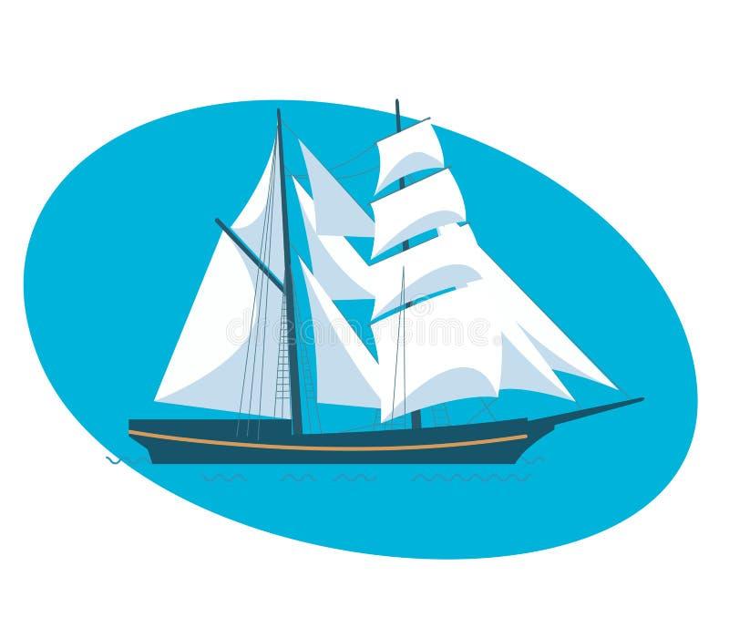 A beautiful modern sailboat frigate. Beautiful modern sailboat frigate. Modern vector illustration isolated on white background royalty free illustration