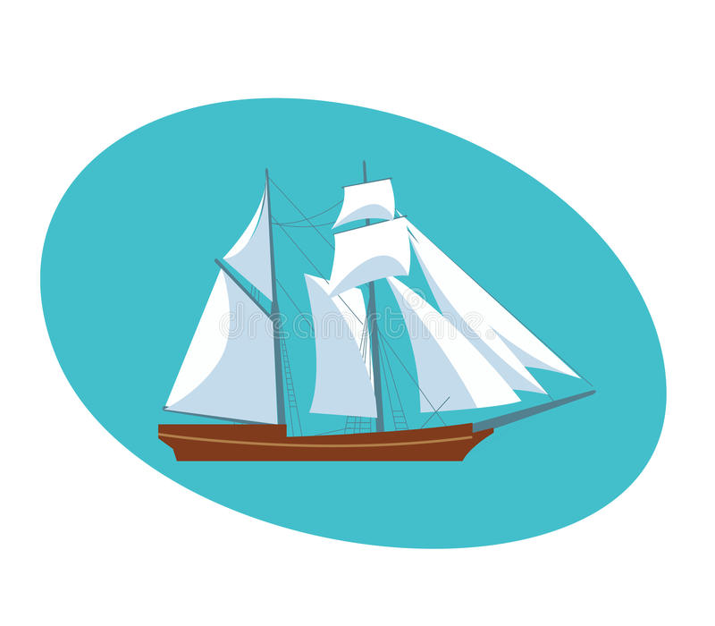 A beautiful modern sailboat frigate. Modern vector illustration isolated on white background stock illustration
