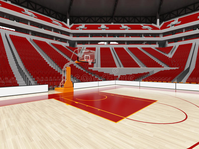 Beautiful modern sport arena for basketball with red seats stock illustration