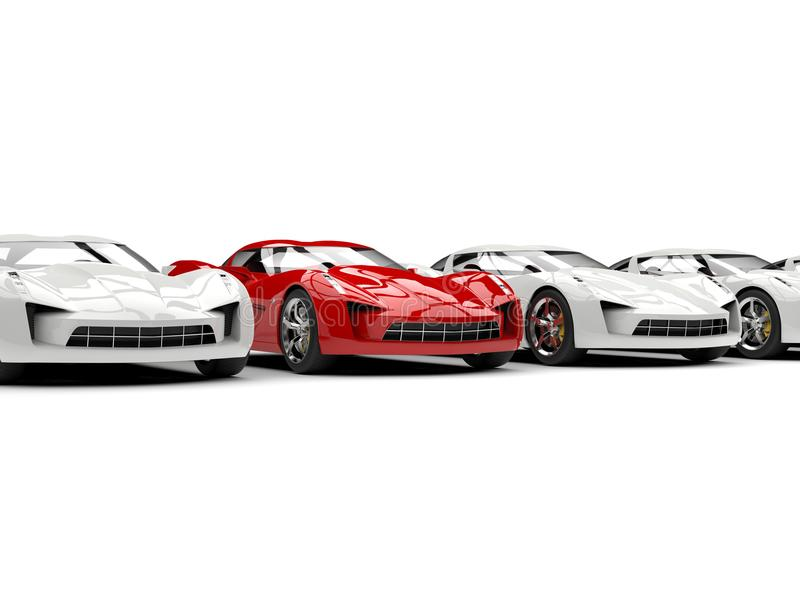 Beautiful modern super sports car stands out in the line of white cars. Isolated on white background vector illustration