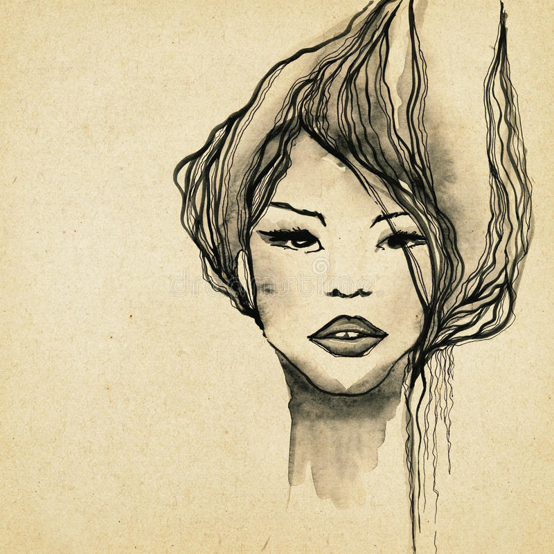 Download Beautiful Modern Woman Drawing Stock Illustration - Illustration of drawing, glamor: 39502704