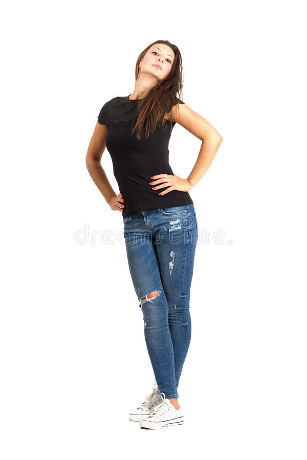 Free Beautiful Modern Woman Posing With Back Tilted Head Stock Image - 44868981